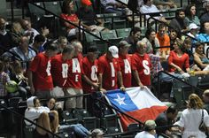 Fans at the Sony Ericsson Open show their appreciation to Chilean Fernando Gonzalez on the night he ended his career in tennis.  March 2012.  Click here for more pics and retirement tribute video.  #tennis
