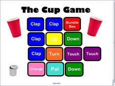 """Poem by Randy DeLelles and Jeff Kriske to help teach the movements for The Cup Game plus 2 Videos on YouTube of Anna Kendrick performing a Cups """"When I'm Gone"""" Cover and another video by The Harvard Undergraduate Drummers (THUD) perform a remix of the cup song made famous by Anna Kendrick in the movie Pitch Perfect."""