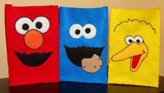party favors, favor bags, cookie monster, party bags, felt goodi, goodie bags, sesam street, parti idea, goodi bag