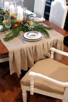 Burlap Table Runner...holiday runner with greenery. holiday, tabl runner, ruffl, centerpiec, christmas tables, thanksgiving table, table runners, blues, christmas table settings