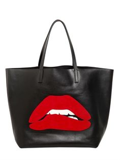 RED VALENTINO - SUEDE MOUTH APPLIQUÉ LEATHER TOTE BAG