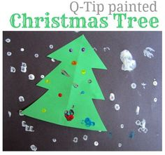 Use q-tips to paint a Christmas scene.