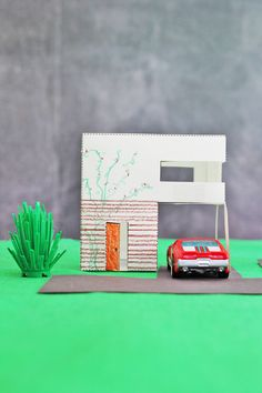 Design for Kids: Paper Houses | BABBLE DABBLE DO | Make a paper house village! Three printable templates and instructions included. #papercrafts #kidscrafts #architecture