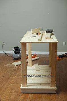 DIY Kitchen Island tutorial. #diy #kitchen #decor #wood #project #kitchenisland   www.osiemoats.com