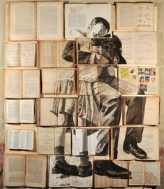 Russian artist Ekaterina Panikanova uses open-faced books, carefully aligned with one another, as a large canvas for each of her paintings in a series titled Errata Corrige.