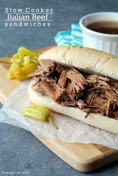 Slow Cooker Italian Beef Sandwiches - this easy slow cooker meal is full of beefy flavor and the perfect football food!