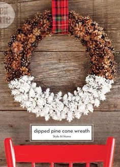 DIY dipped pinecone wreath