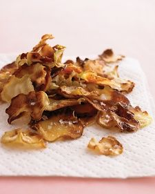 Super easy Kohlrabi Chips! Bake at 250 for 40 mins or so ! Only use Olive oil and salt