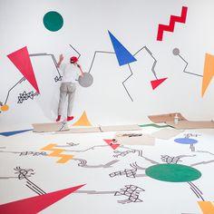 studio, wall art, wall patterns, graphic design, kate moross, old london, murals, tent, design art