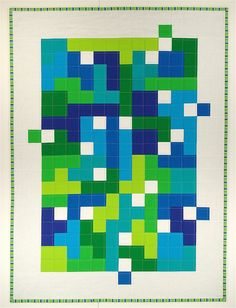 "i love the random blocks out in the white border--modern quilt ""Fitting In"" by SpringLeaf Studios, via Flickr"