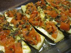 "Zucchini ""bruschetta"" herb tomato"