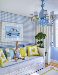 girl's room with blue & white check, daybed & pops of citrus yellow