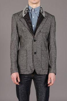 Patterned Shawl Collar Blazer