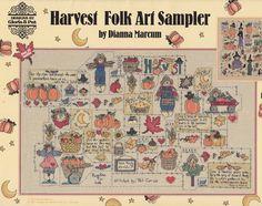 Halloween Cross Stitch Patttern and Harvest Folk Sampler