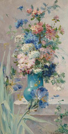 "EUGÈNE HENRI CAUCHOIS (1850 - 1911) ""Summer Flowers with Japanese Iris"" by sofi01"