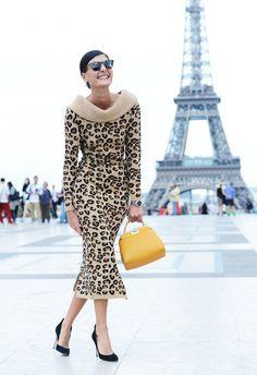 paris fashion, fashion weeks, giovannabattaglia, fashion dresses, street styles, animal prints, leopard prints, giovanna battaglia, paris style