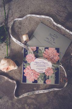 floral wedding invitation, photo by http://kivalophotography.com - http://ruffledblog.com/1st-portland-notwedding #stationery #weddinginvitation