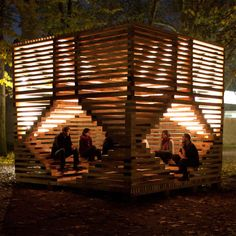Miilu is a wooden site specific installation next to the Nordic Pavilion, offering an informal meeting place for visitors in the Venice Biennale.   11a Bienal di Architetura di Venezia, by Massimiliano Spadoni Architetto, Rintala Eggertsson Architects