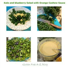 Gluten Free A-Z Blog: Raw Kale and Blueberry Salad with orange cashew dressing!!