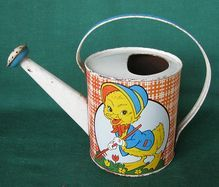 Vintage Ohio Art child's tin watering can, ducklings