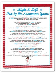 Printable Right & Left Frosty The Snowman Game - Funsational.com holiday, christmas parties, christmas gift exchange ideas, christma game, christmas party games, white elephant, christmas games, christma parti, christmas gifts