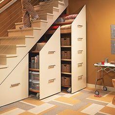 Neat! hidden storage, basement stairs, storage under stairs, extra storage, staircase storage, storage cabinets, stair storage, storage ideas, basement storage