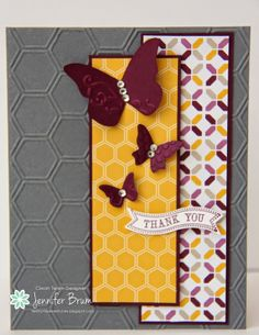 handmade card from Ladybug Designs ... luv the new gray as neutral look of the deep gray base card ...  hexagons from embossing folder texture and two different patterned papers ... Stampin'Up!