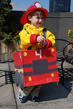Love the idea of a firetruck box!  So cute!