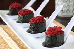 Vegan Sushi: Faux-Roe Tobiko Gunkanmaki with Pickled Daikon
