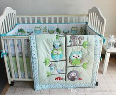 Wholesale Happy Owls and Friends Three Animals Embroidered Baby Cot Crib Bedding Set 7pcs 4 items includes Quilt Bumper Sheet Skirt for boy bed kit, Free shipping, $90.62/Set | DHgate Mobile