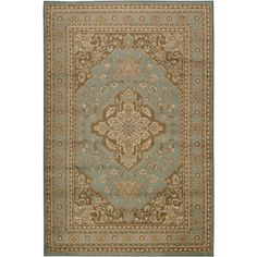 Aqua Ivory and Brown Area Rug