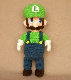 It's a Luigi! Free Crochet Pattern!!! crochet projects, crochet toys, mario brother, video games, mario bros, super mario, crochet patterns, luigi, amigurumi patterns