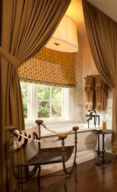 Window Treatments - roman shade and side panels