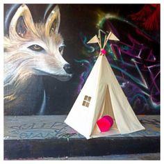 Moozle MIDI size kids teepee tent moozlehome.com and Etsy #teepee #kidsteepeetent #wigwam #grafitti #fox #play #kids #neon