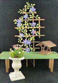 tutorial on mini gardening bench, trellis & accessories