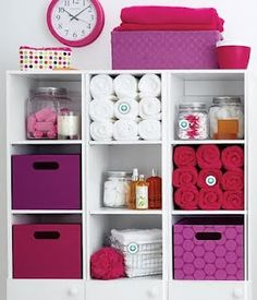 Great bathroom organization only in the colors that match my bathroom, which are def not pink and purple. :)