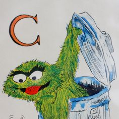 Vintage Oscar the Grouch  Framed Painting by KaytoesVintage, $30.00