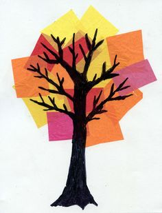 Drawing a tree on acetate and placing it over a collage of tissue paper keeps the drawing nice and smooth. #artprojectsforkids