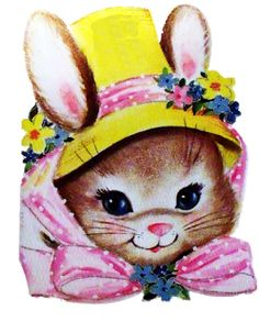 easter vintag, easter cuti, easter card, easter graphic, easter time, bunnyinyellowhatjpg 534667, easter bunni, easter clip, easter bunny
