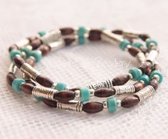 Turquoise Stretch Bead Stack Bracelet Trio with Dark Brown and Tibetan Silver and Silver Plated Beads.