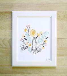 south art print 8x10 11x14 11x15 floral succulent cactus flowers bouquet simple tribal bloom illustration pastel colors white blue yellow