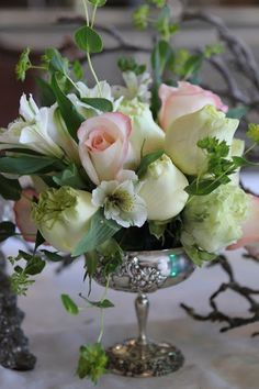 flower arrang, bouquet, pink roses, idea, centerpiec, wedding flowers, table arrangements, floral arrangements, antique silver
