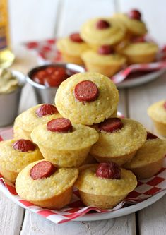 Corn Dog Mini Muffins..looks like such a fun Sunday Football snack or something. Instead of making cornbread muffins from scratch, just use Jiffy cornbread mix. Also instead of hotdogs, I would use lil' smokies,  Kelbasa or hot links.