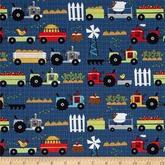 Moda Oink A Doodle Moo Tractor Garden Blue