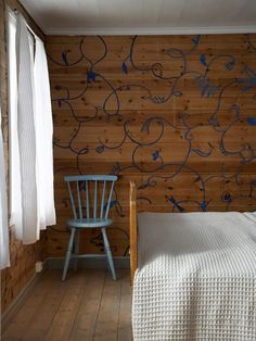 Painted design on raw wood walls.  Wall treatments from iVillage.com