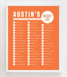Check out this Austin, Texas, bucket list from Etsy! Which ones have you checked off?