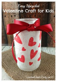 Valentine Crafts for Kids: Upcycled Votive Holder  #PinOfTheDay