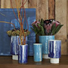 Elephant Ceramics + West Elm — gorgeous textured blue vases!