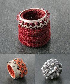 Catherine Maymo (Barcelona-based Swiss jeweller) Crocheted rings