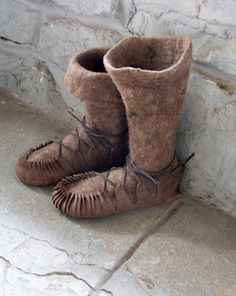 felt boots --- This exact style is in the Museum with Viking Garb  items found in burial sites.